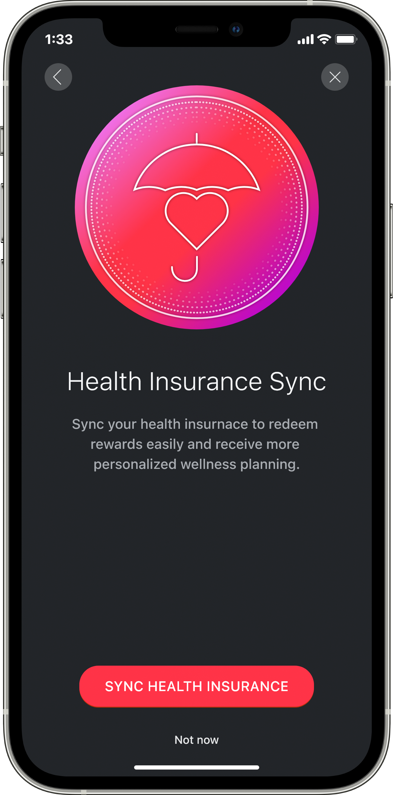The health insurance sync screen.