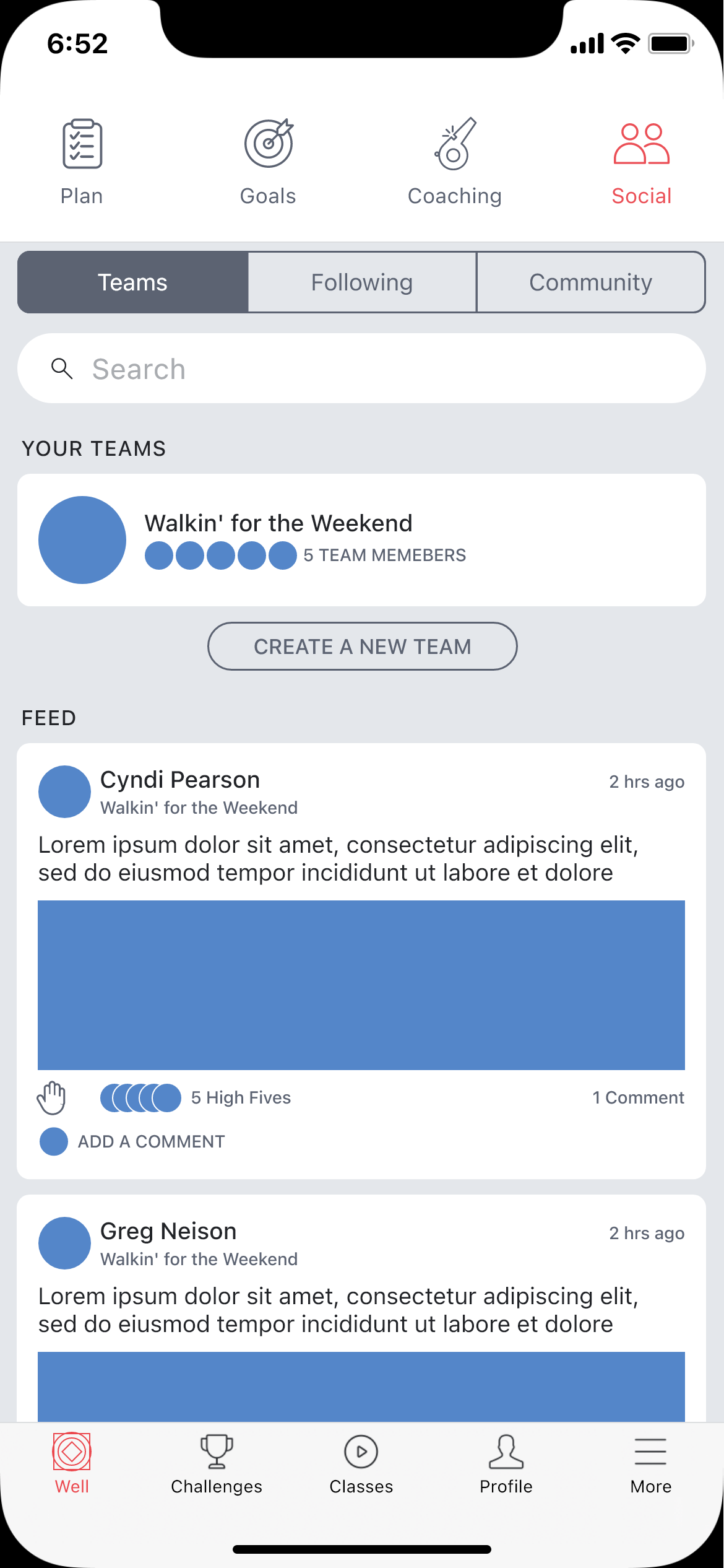 Social screen wireframe.
