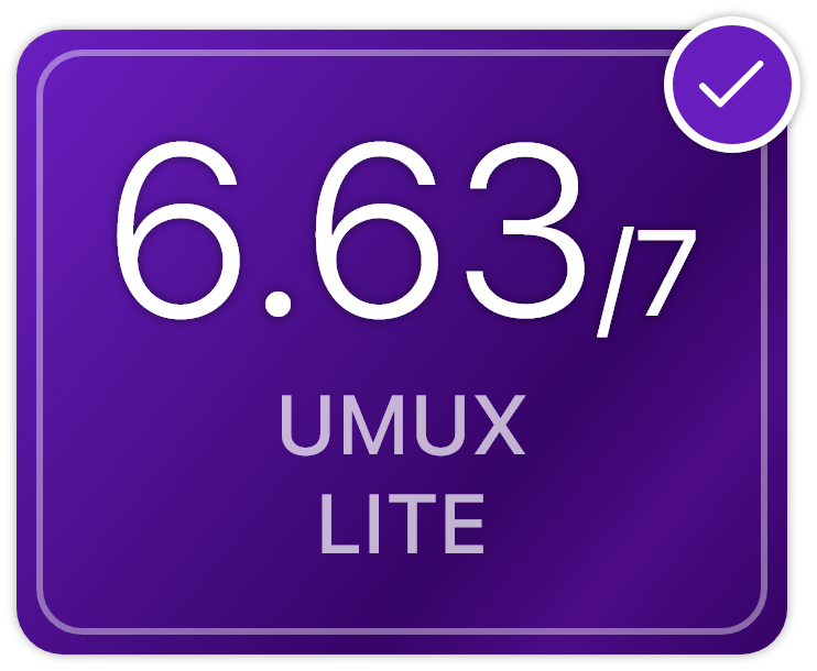The UMUX Lite score was 6.63 out of 7.