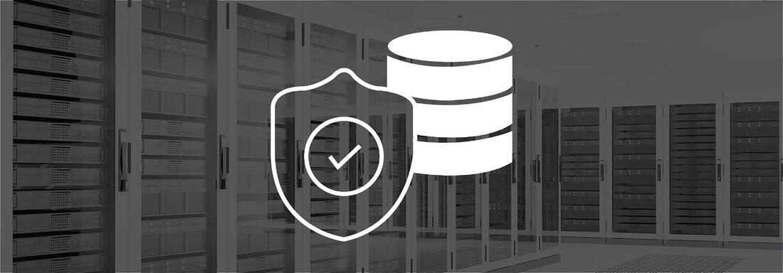 Serverraum mit Icon eines geschützten Servers im Vordergrund