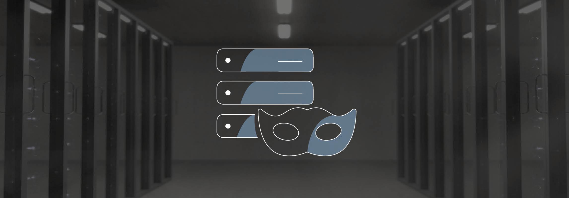 Anonymisierungs-Icon auf Serverhintergrund