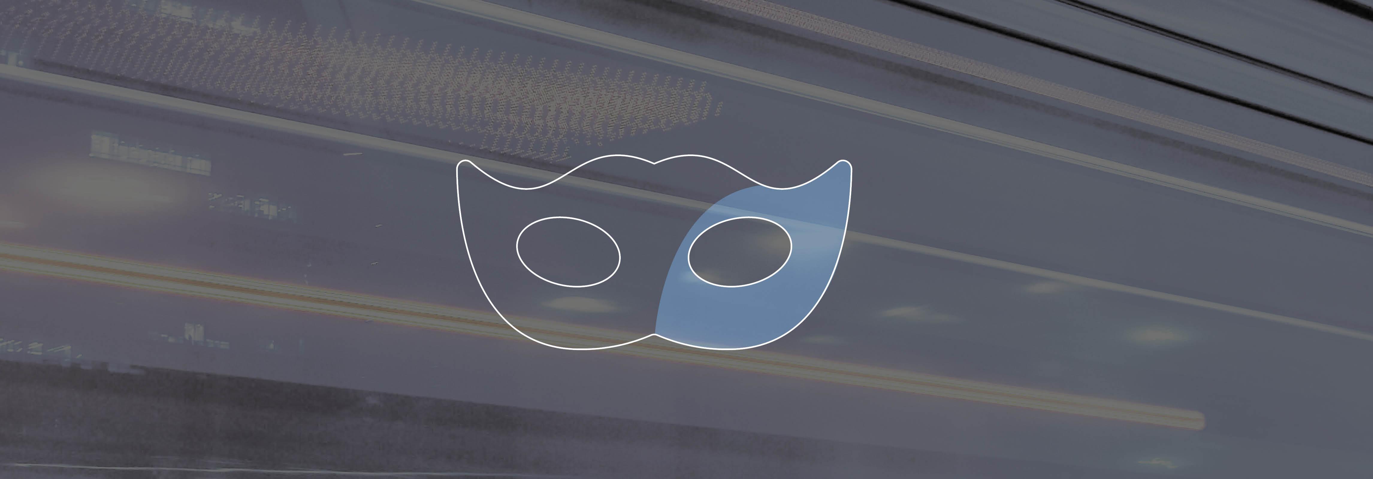 Masken Icon auf Lichtstreifenhintergrund