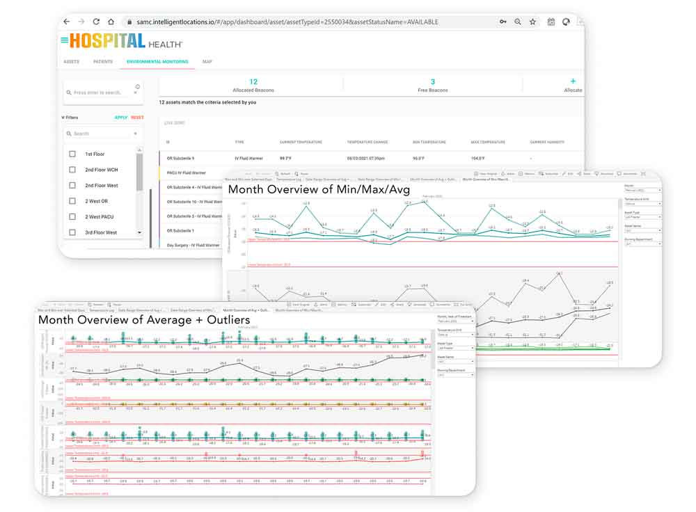 screenshot of hospital health interface