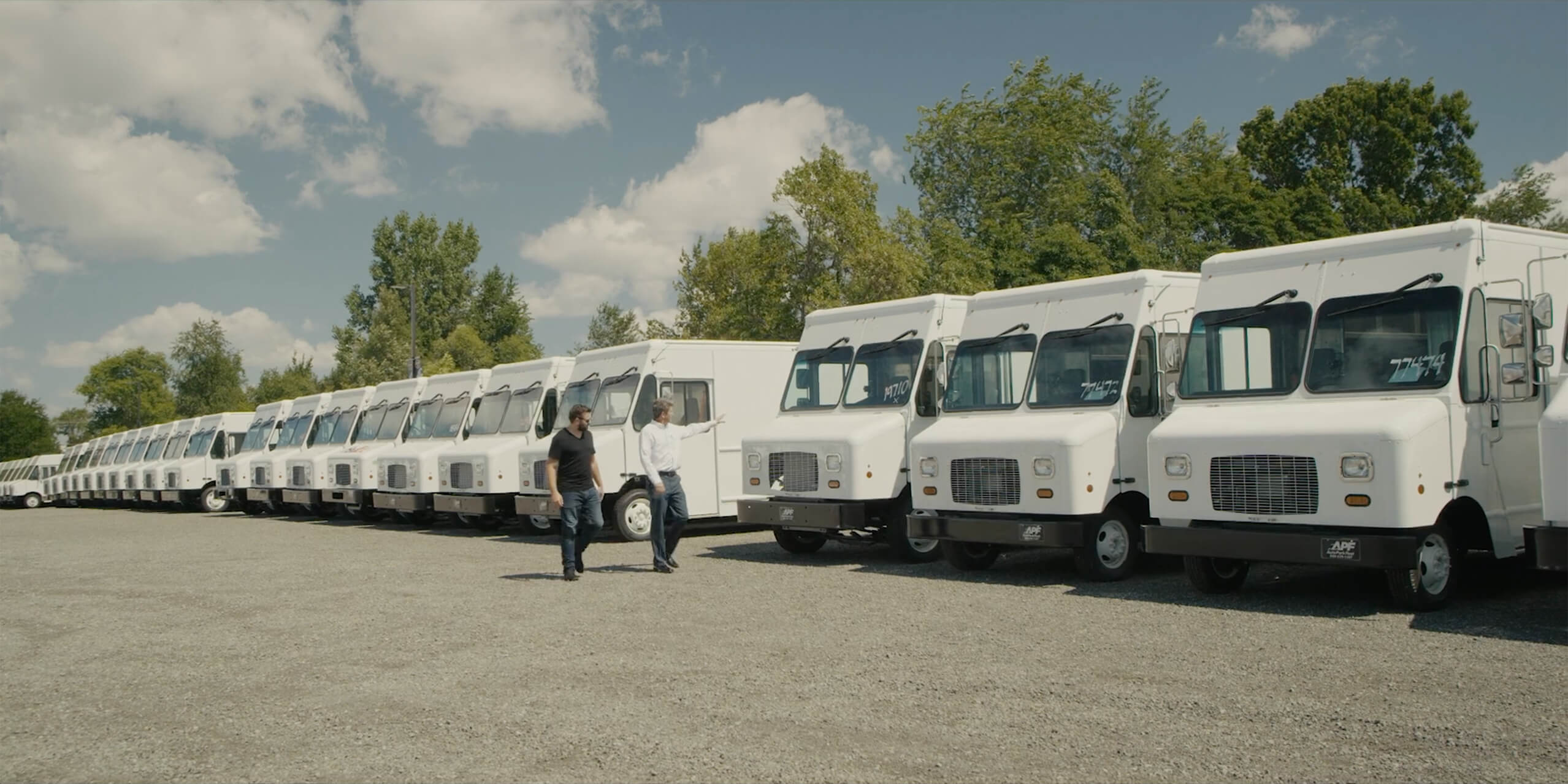 Rows of delivery trucks