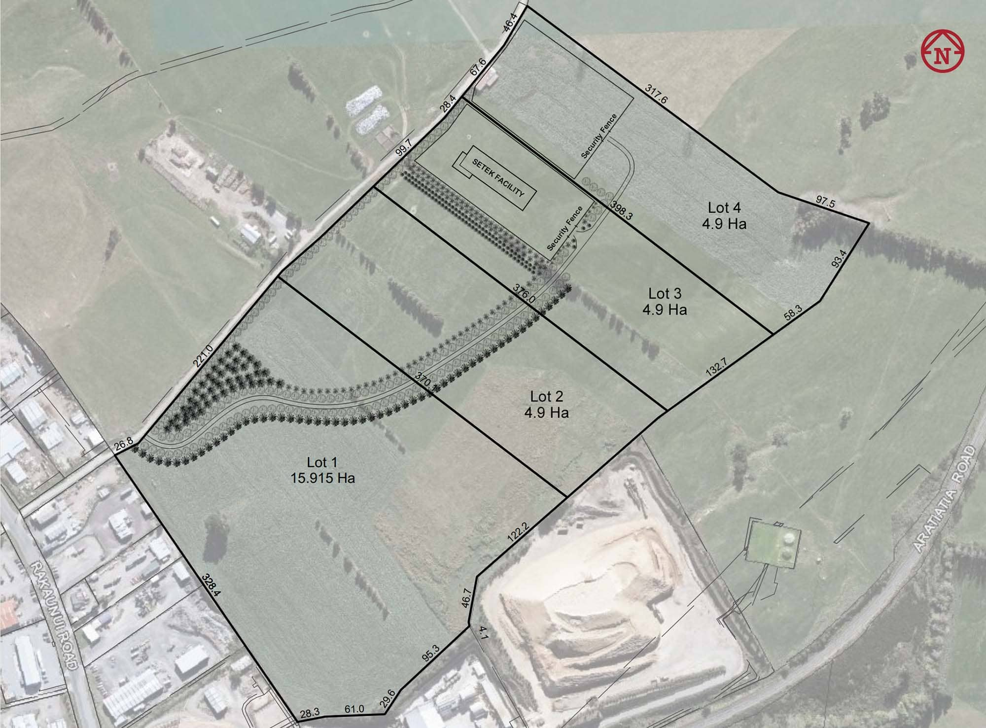 A proposed subdivision map of the new Setek facility.