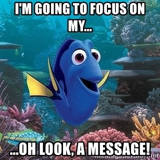Distracted Dory - I'm going to Focus on my... ...oh Look, A Message!