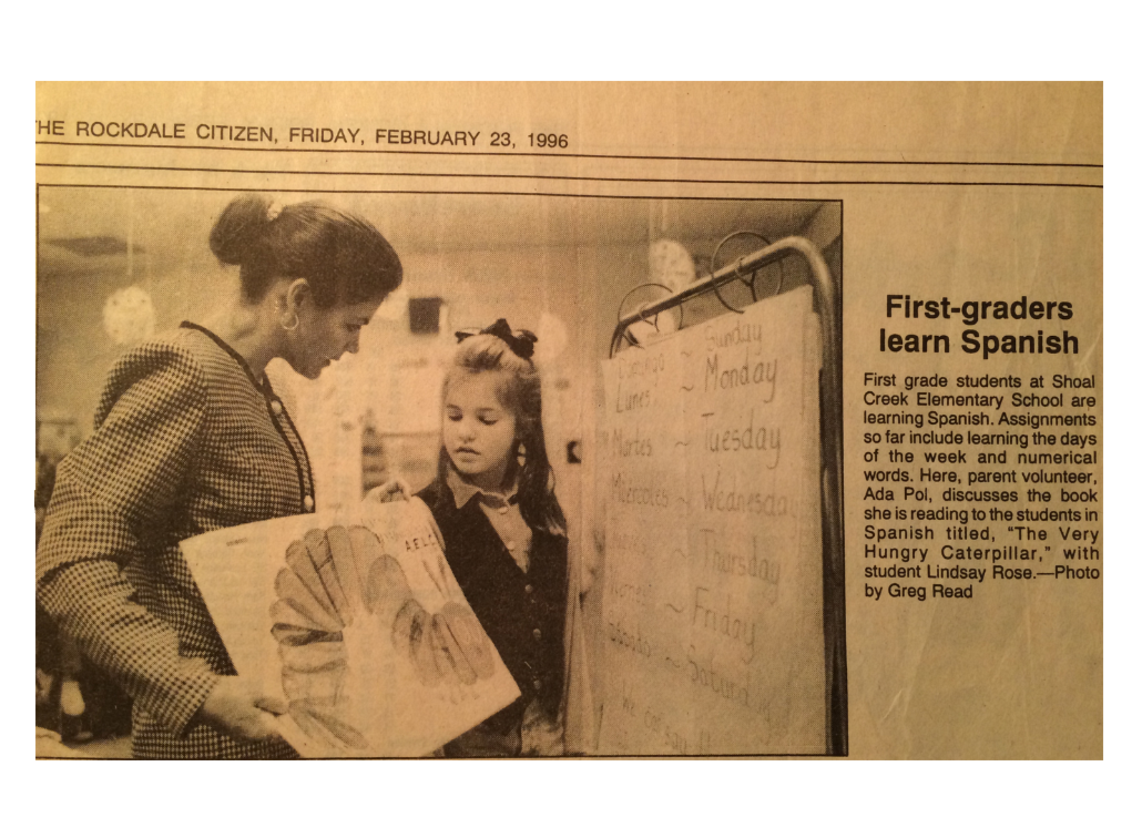 Newspaper on first-graders learning Spanish