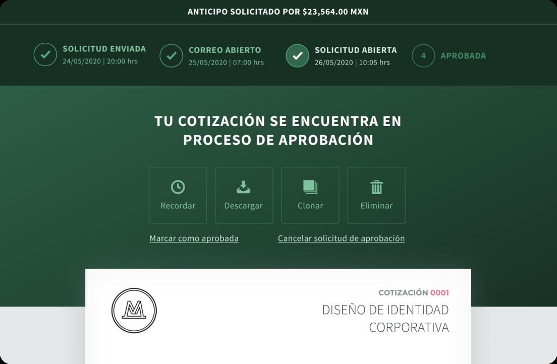 Interfaz para ver el estado de aprobación de una cotización