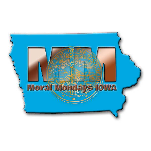 Moral Mondays IOWA logo is a blue state with the gold seal of the state of Iowa