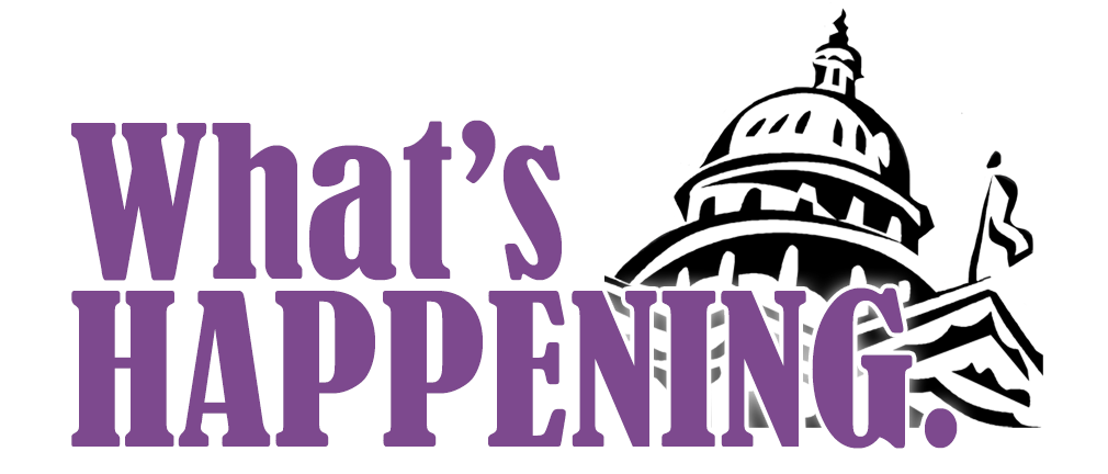 What's Happening in purple lettering and a clipart image of the Capitol building