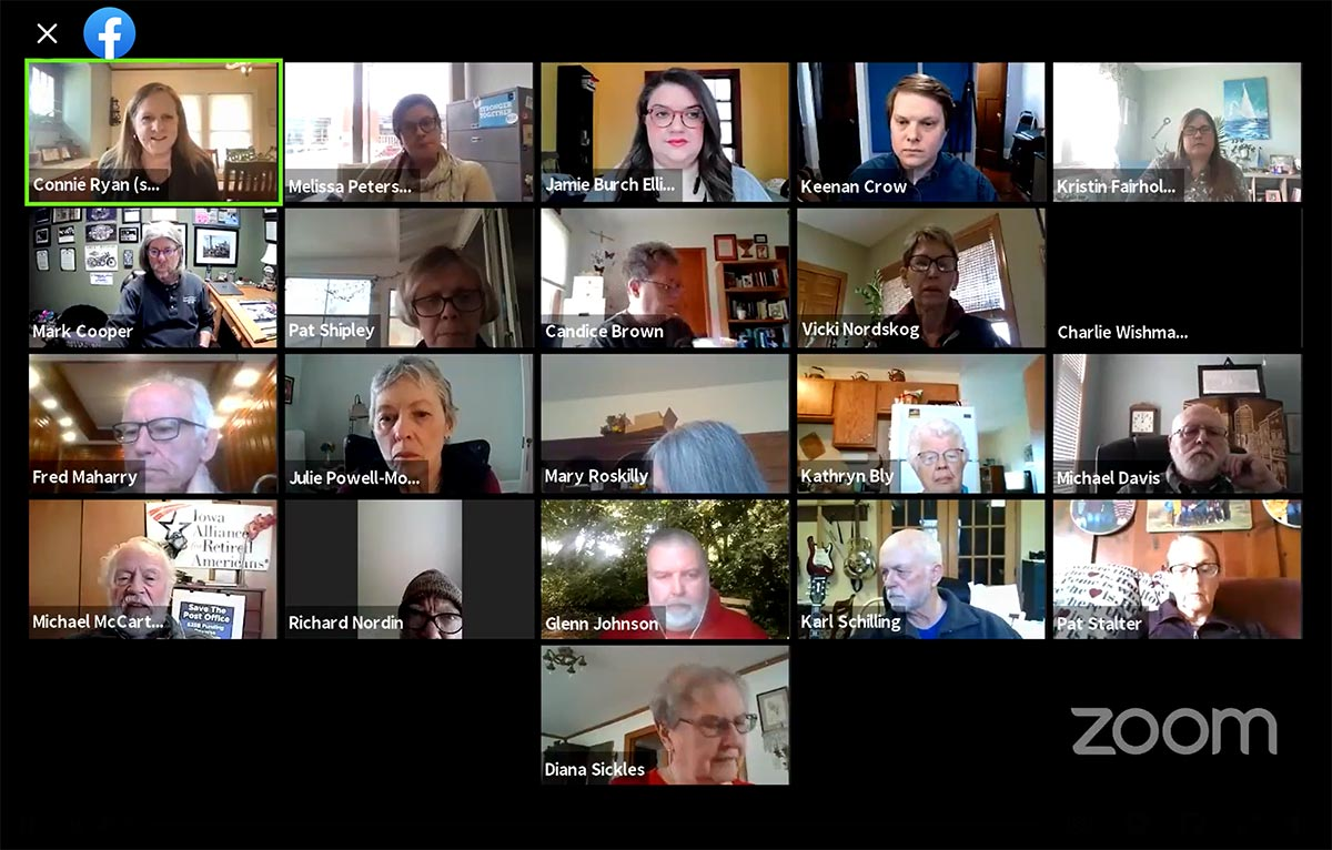 Screenshot of a Zoom meeting with several people who attended a virtual gathering about current Iowa legislation in 2021