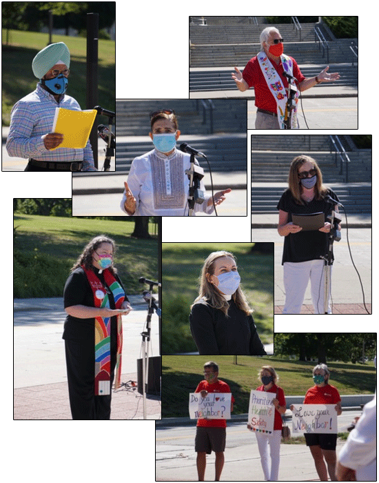 A collage of multiple photos of faith leaders in favor of mask mandates and usage during the COVID-19 pandemic
