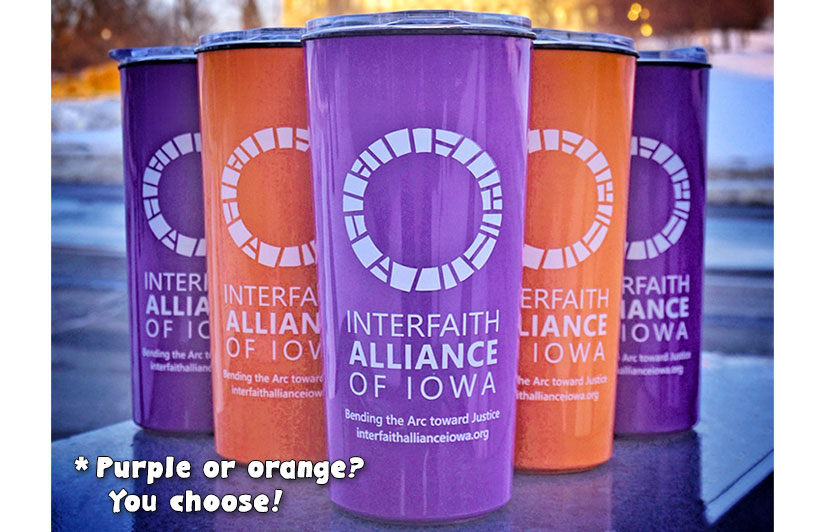 Receive a purple or orange beverage tumbler with any monthly gift $25 or greater