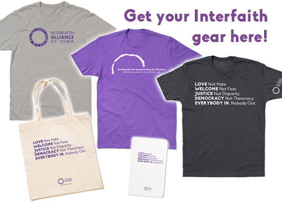 Interfaith items available in our Raygun store, including t-shirts, tote bags, and note books