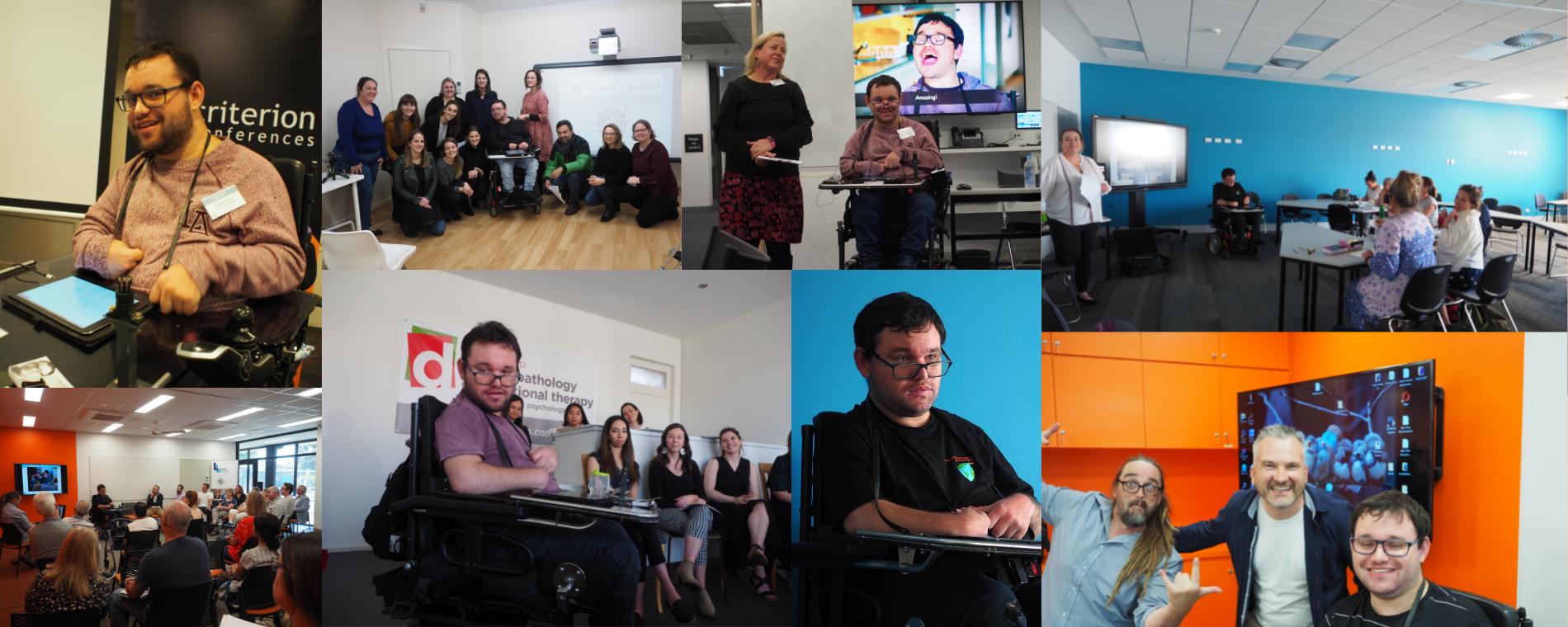 Image description: Collage of photos of Jono giving presentations.