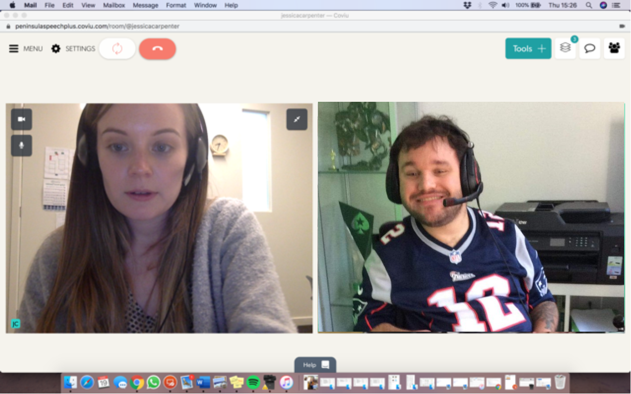 Image description: Screen shot of Jono on a video telehealth call with his speech pathologist.