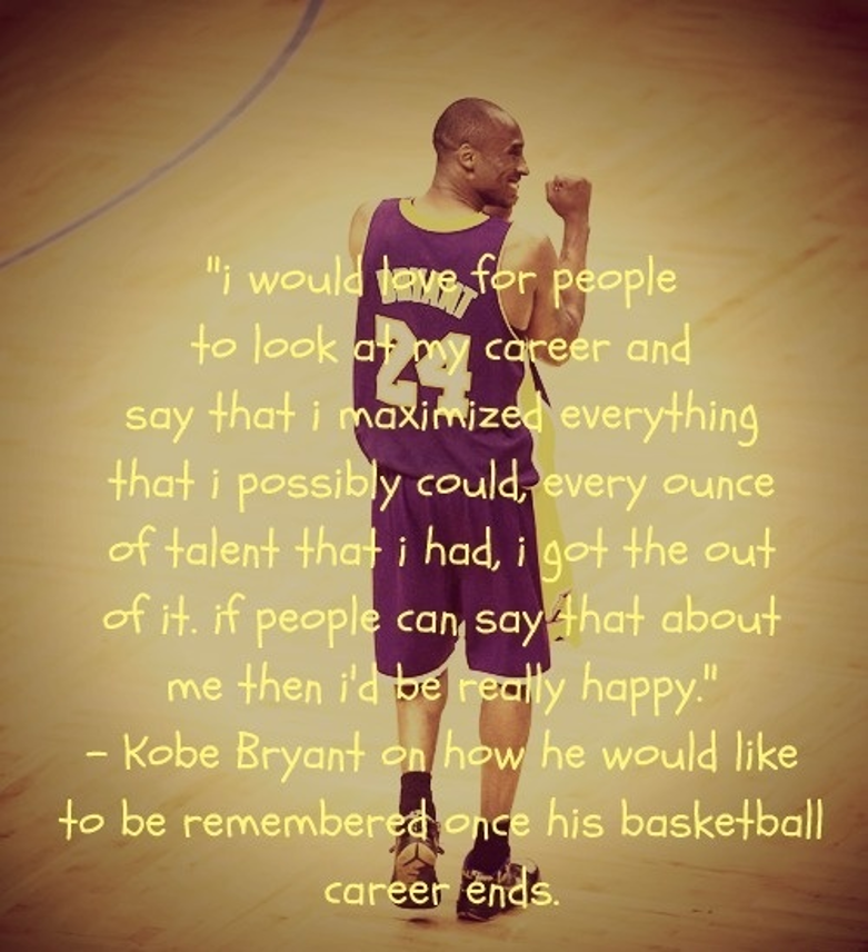 """""""I would love for people to look at my career and say that I maximised everything that I possibly could, every ounce of talent that I had, I got the out of it all. If people can say that about me then I'd be really happy."""" Kobe Bryant on how he would like to be remembered once his basketball career ends. Image description: Kobe Bryant smiling with his back to the camera. He is standing on a basketball court in his Lakers jersey."""