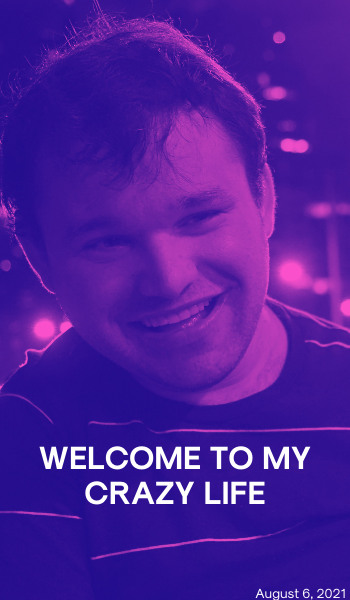 Blog: Welcome to my crazy life Image description: An image of Jono smiling. The city is behind him. The image has a purple filter.
