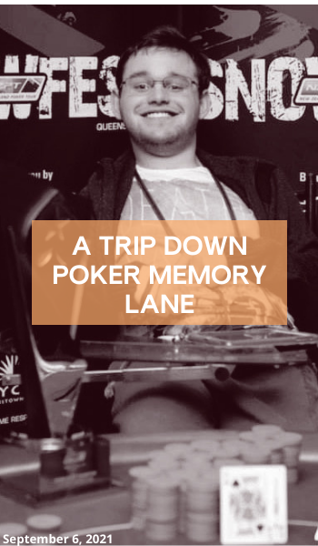 """Blog: A trip down poker memory lane. Image description: A black and white photo showing Jono smiling directly at the camera. Over the top of the photo is an orange box with the title """"A trip down poker memory lane""""."""