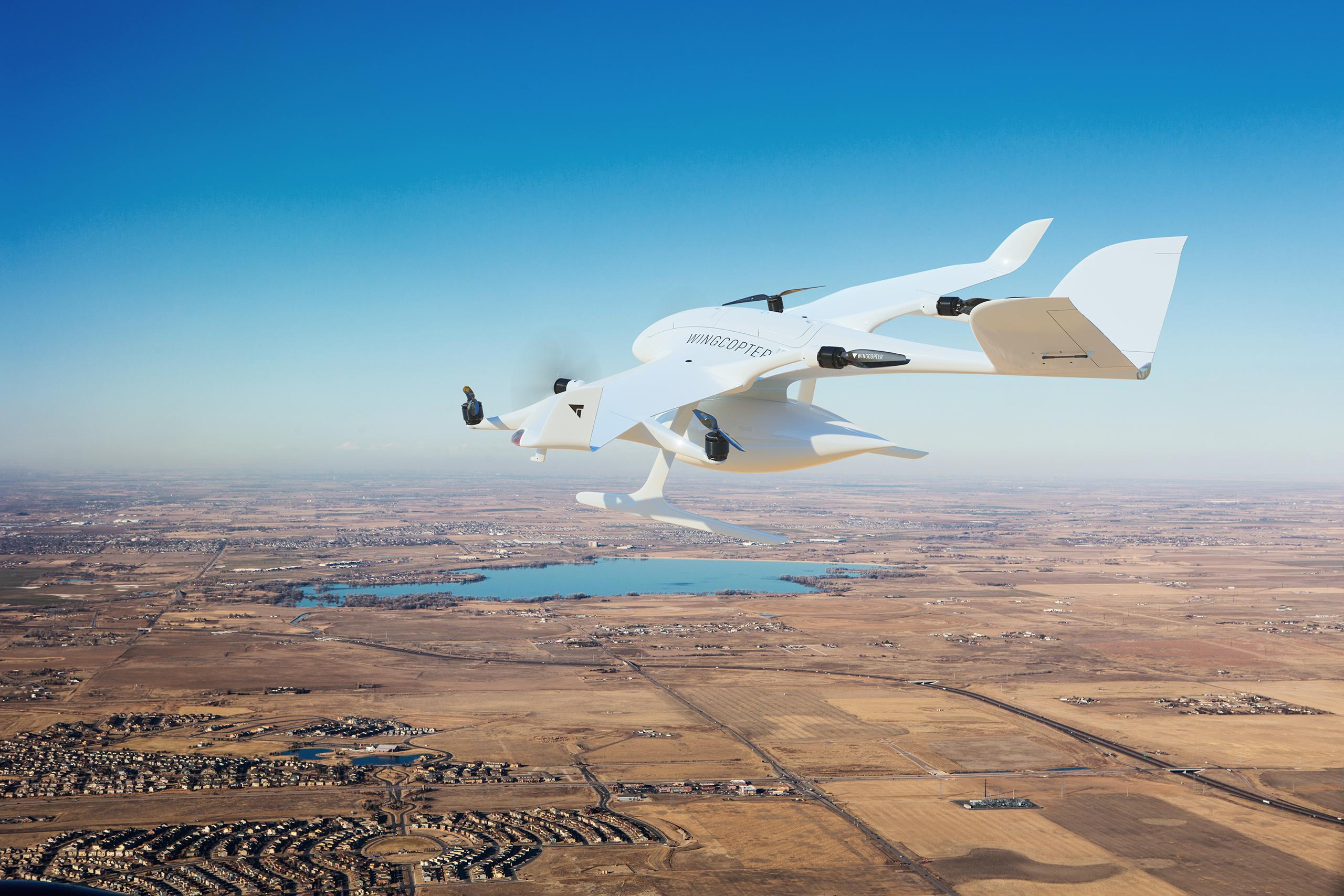 Eine Drohne von Wingcopter im Einsatz