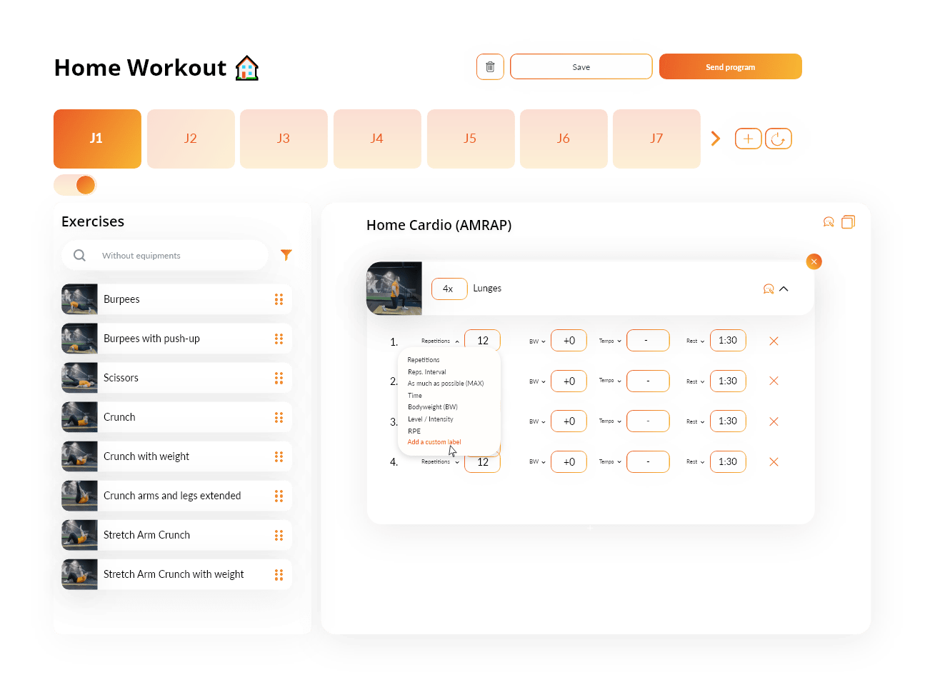 Software and application for personal trainers