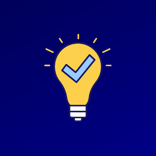 Illustration of a glowing lightbulb with a tick in the middle.