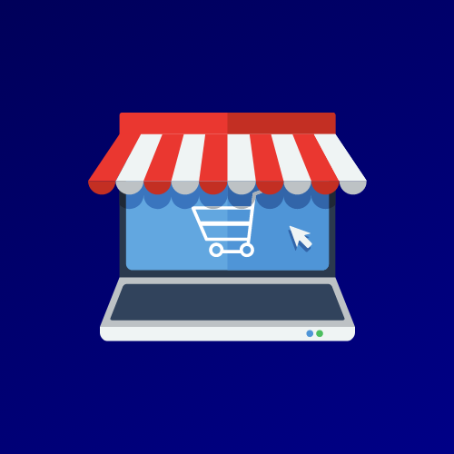 Illustration of a shop awning on top of a laptop representing online shopping.