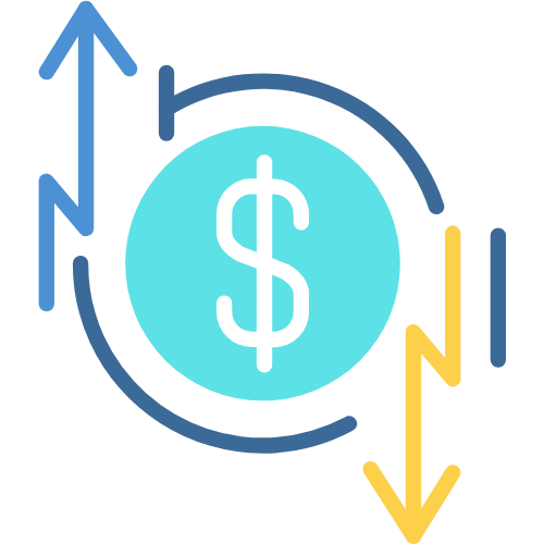 Dollar sign with arrow on either side going up and down.