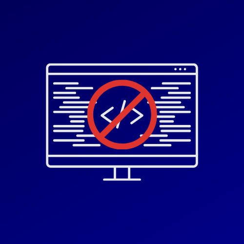 """Illustration of a computer with code on the screen. On top is a red """"no entry"""" sign."""