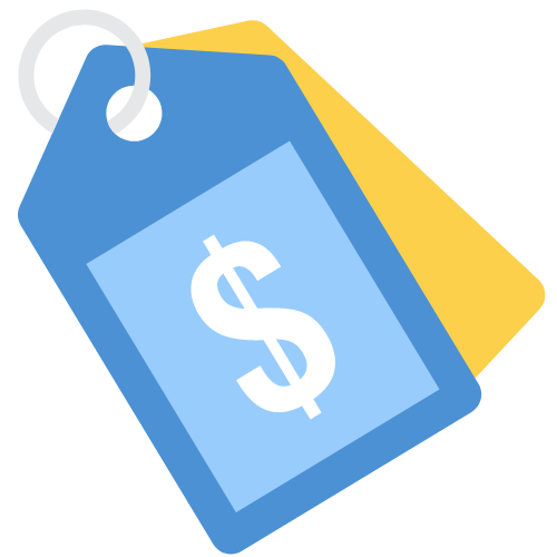 Illustration of two price tags with a dollar sign
