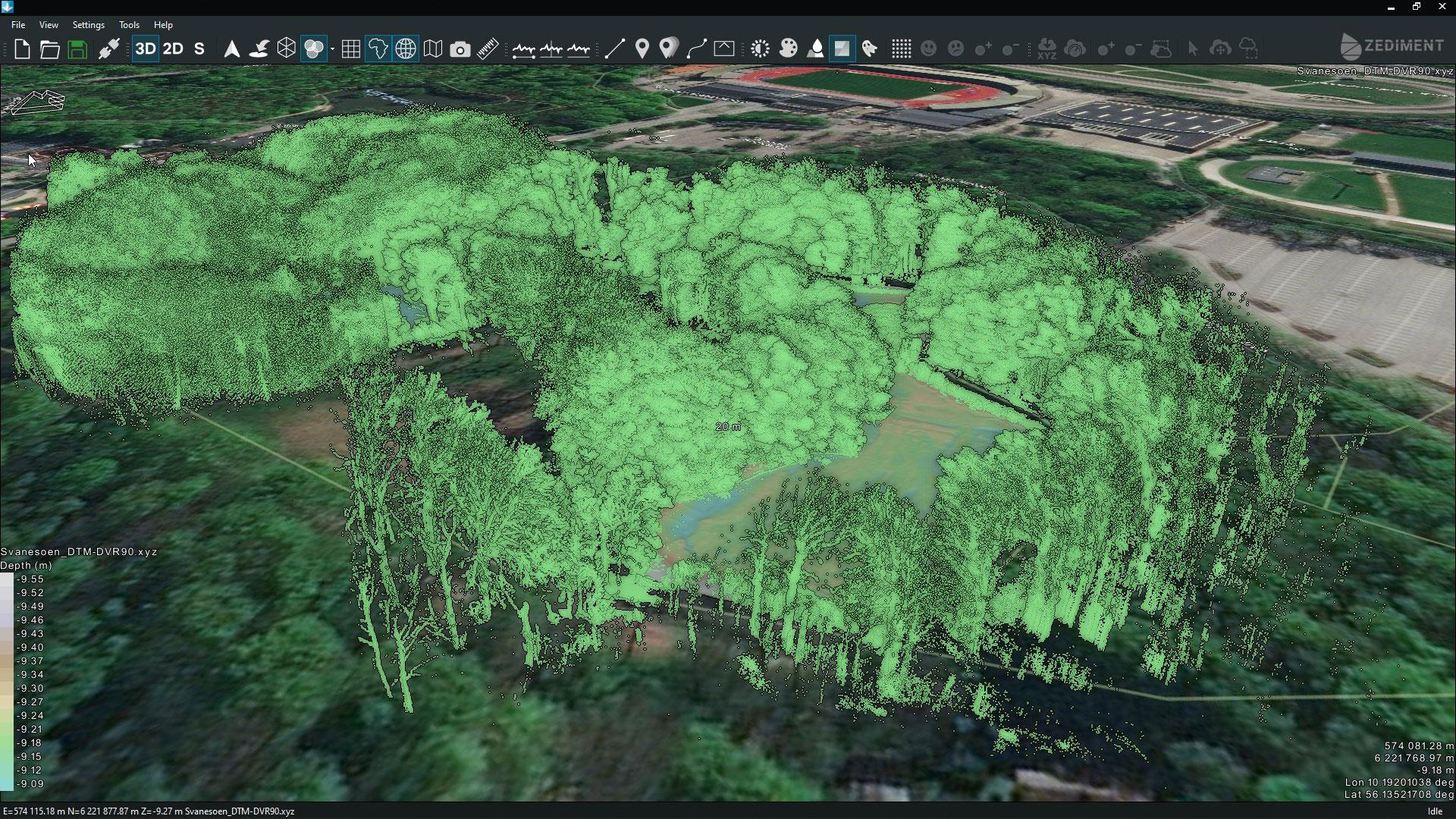Data fra scanning over og under vand kombineret i samme 3D model