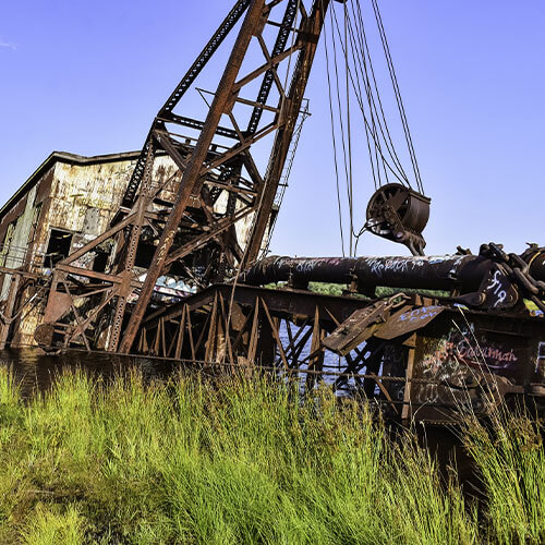 Old Dredge on Shore Lake Linden Hubbell Michigan