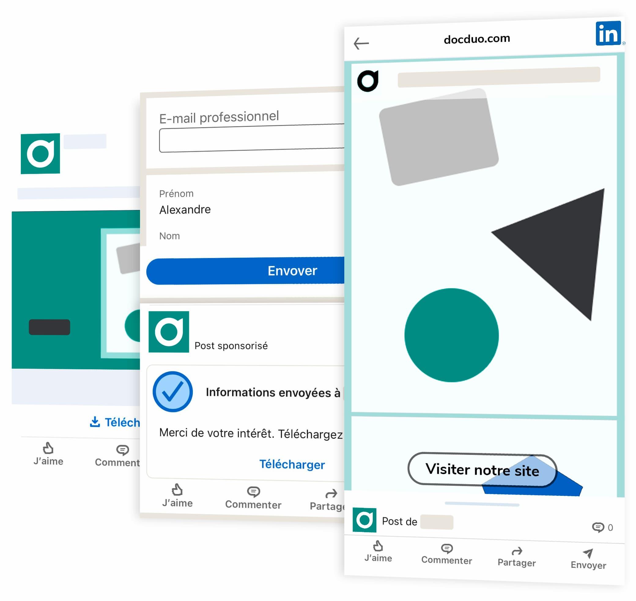 Les 3 étapes d'une publicité LinkedIn Ads avec formulaire de génération de leads et hébergement et affichage de contenu publicitaire optimisé avec docduo.