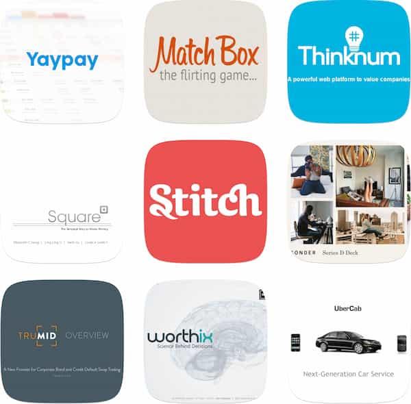 La base de données de pitch deck rassemble centaines de pitch decks provenant d'entreprises technologiques du monde entier comme Match Box, yaypay, thinknum, Square, Stich ou Uber