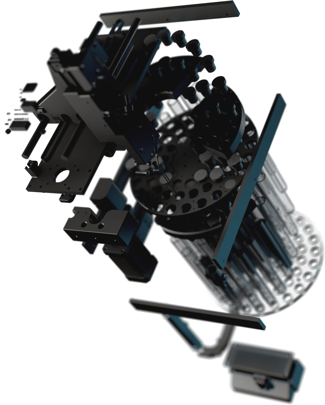 3D render of autosampler device with exploded geometry.
