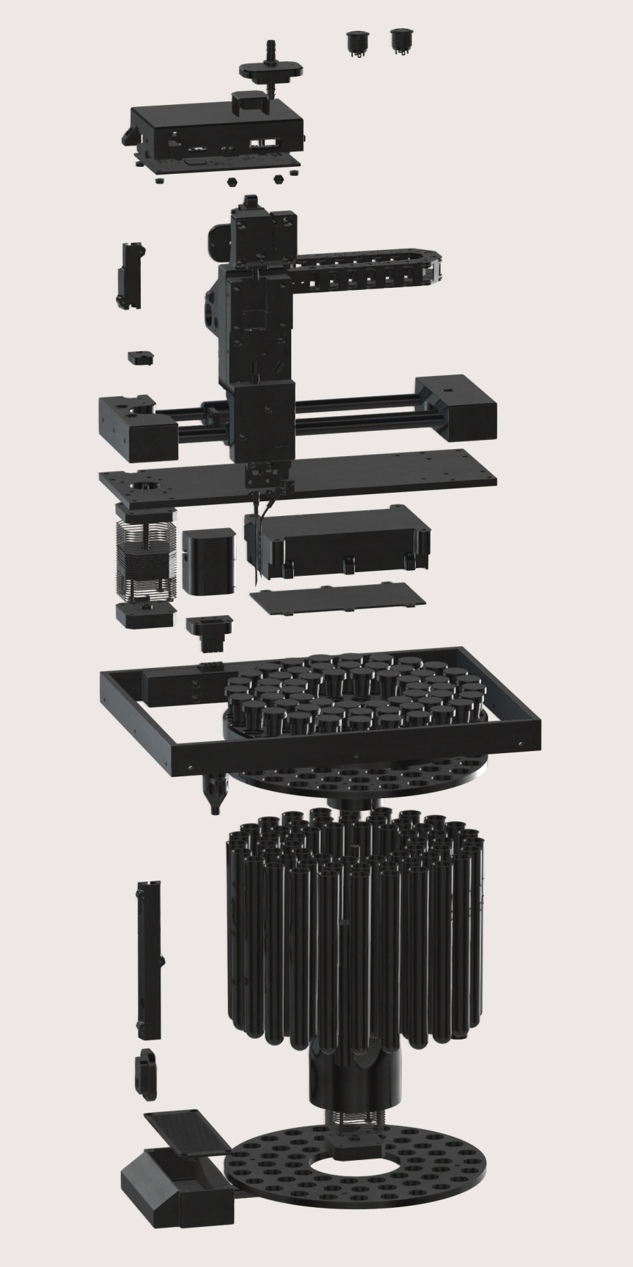 3D render of Syp autosampler in exploded view.
