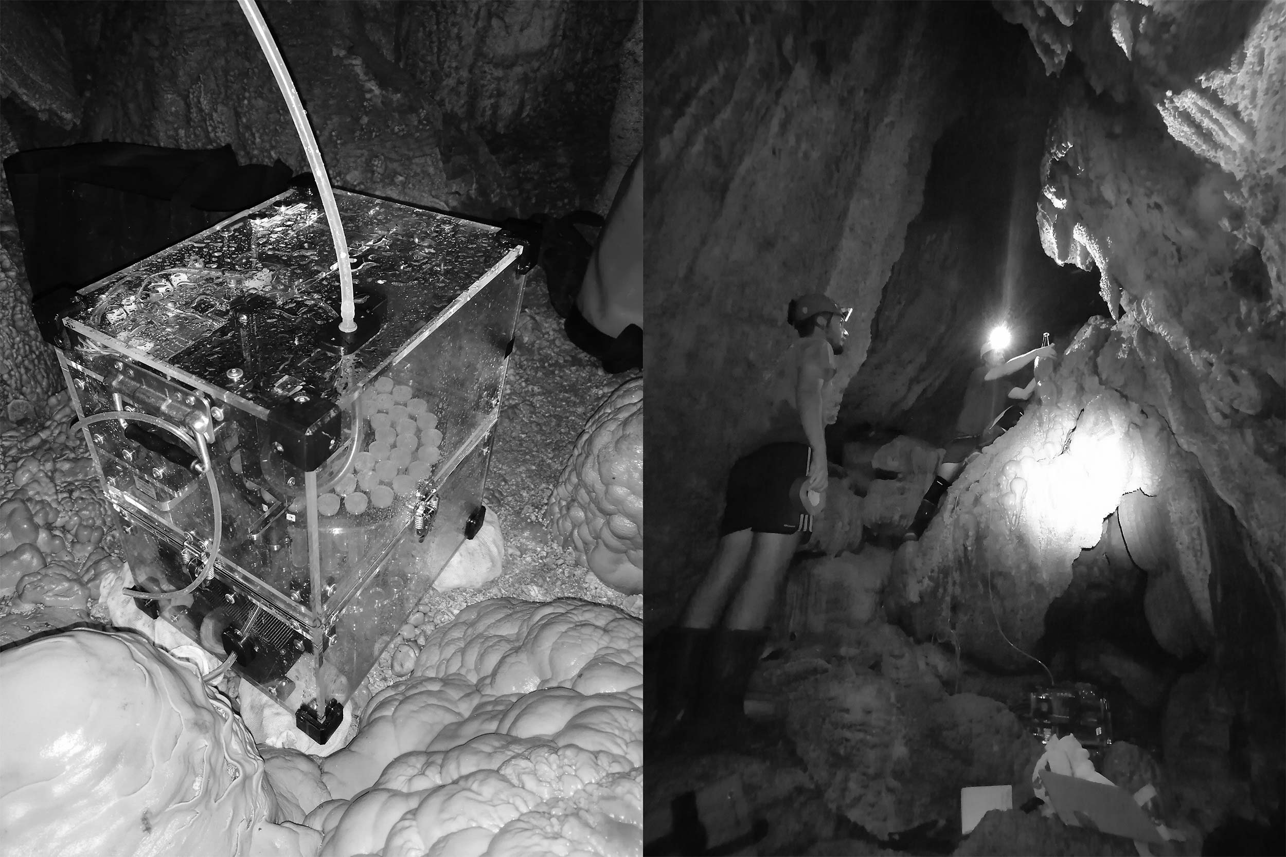 Syp autosampler device installed by in cave, field scientists in process of installation.