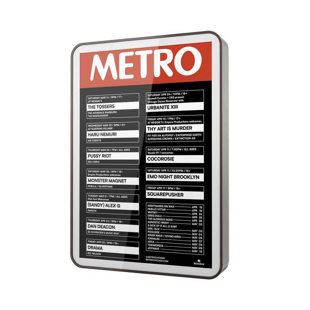 Image of a backlit poster in frame for Metro rock club.
