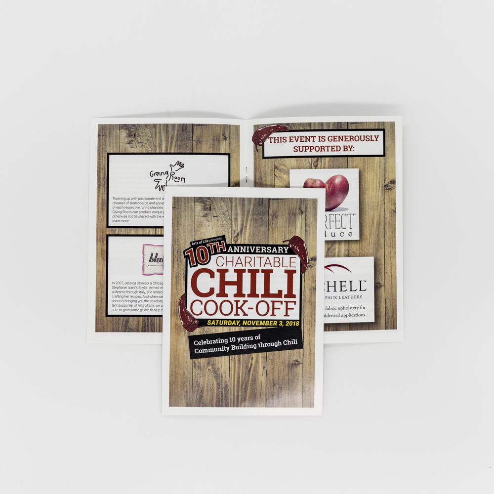 Image of bi fold program for Arts of Life's Chili Cook-Off.