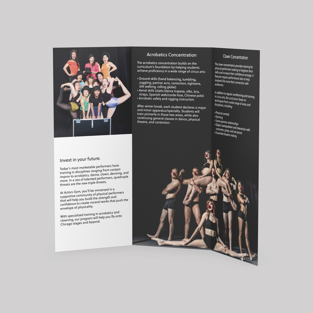 Image of tri fold brochure for Actor's Gym, explaining different programs offered.