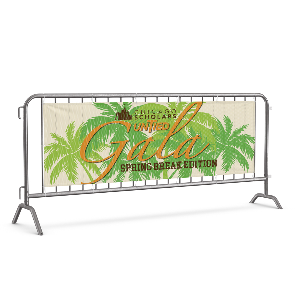Image of banner on a fence for Chicago Scholars Untied Gala with palm tree illustrations.