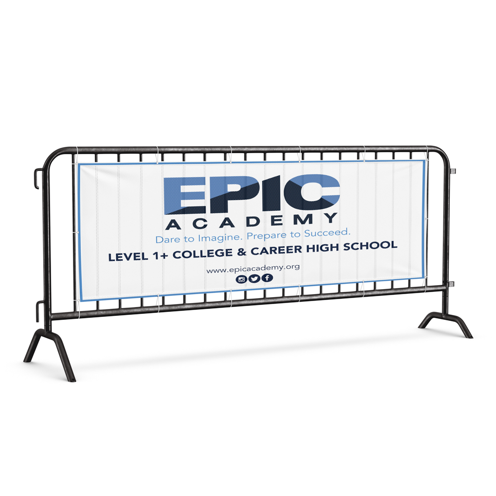 """Image of banner on a fence for Epic Academy, with text """"Dare to imagine. Prepare to succeed""""."""