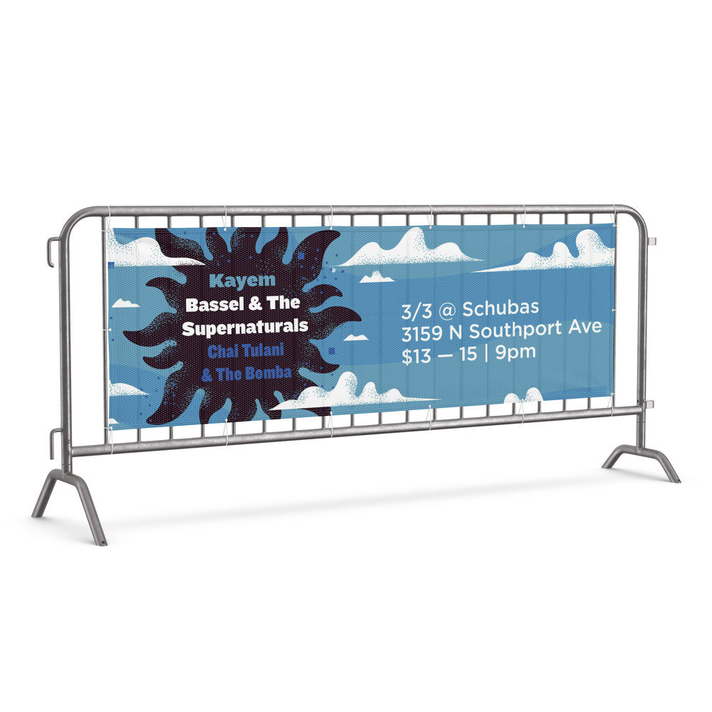 Image of banner on fence for a music performance, with an illustration of clouds.