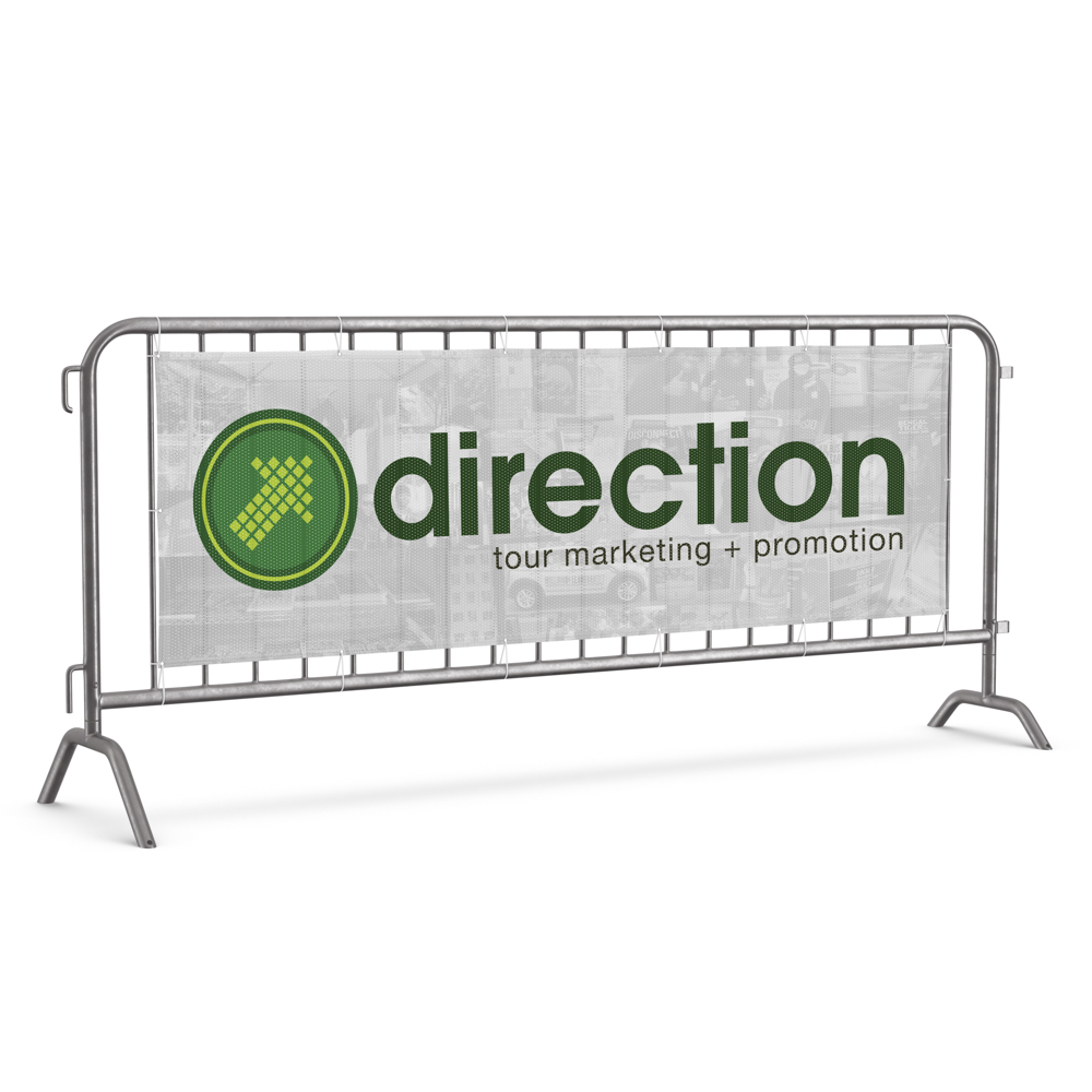 """Image of banner on a fence with """"Direction Tour Marketing & Promotion"""" text and green arrow logo."""