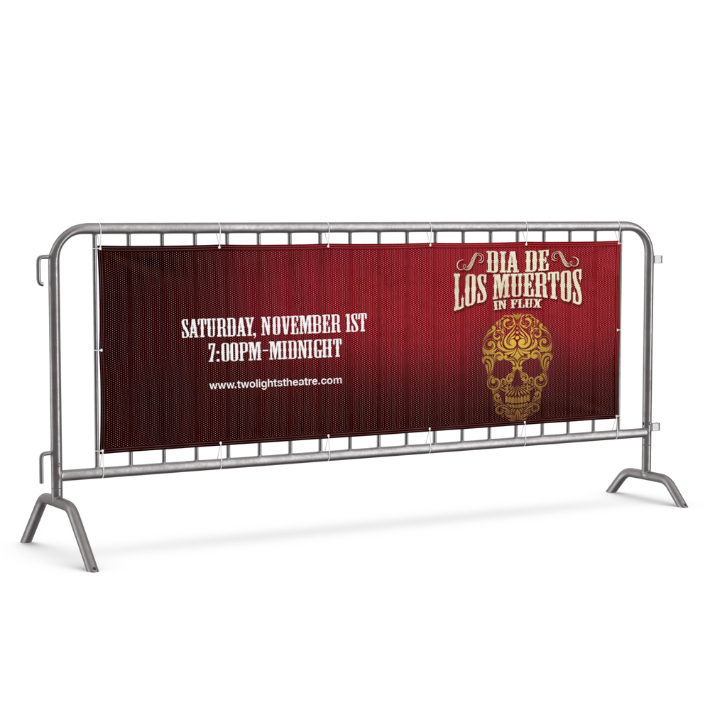 """Image of banner on a fence with """"Dia de los Muertos in Flux"""" text and skull illustration."""
