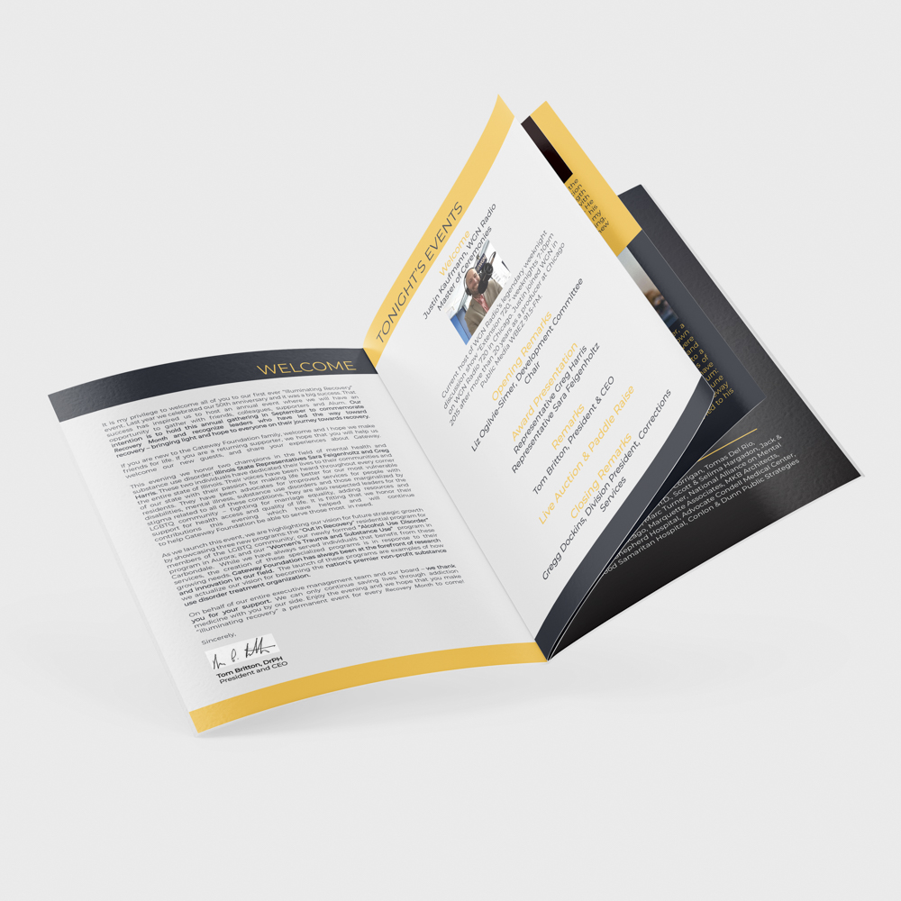 """Image of a custom booklet for an event, open to a page with the headline """"Tonights Events""""."""