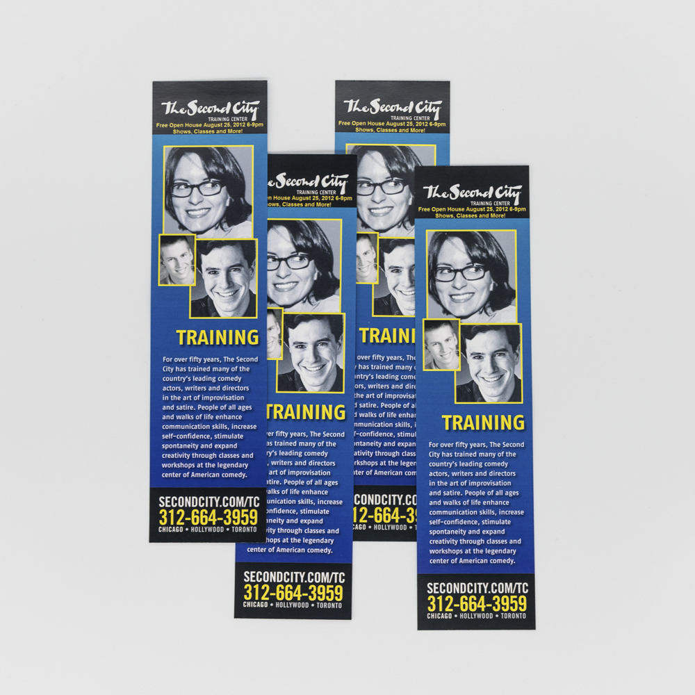 Image of a bookmark for Second City Training Center with a photo of Tina Fey.