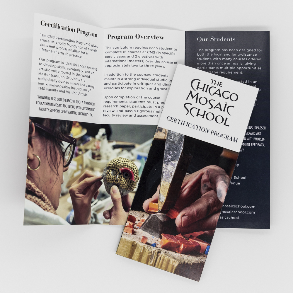 Image of a trifold brochure for Chicago Mosaic School certification program.