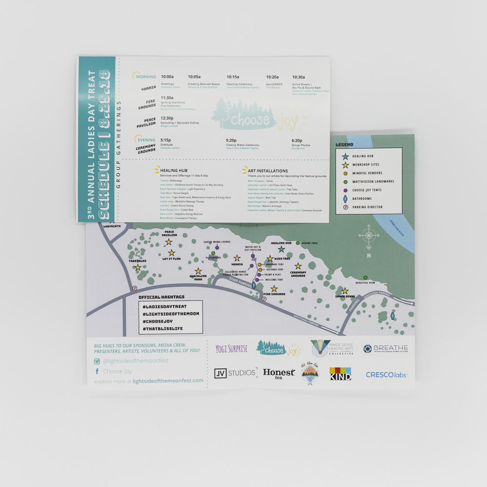 Image of a brochure for Choose Joy retreat featuring a map and schedule.