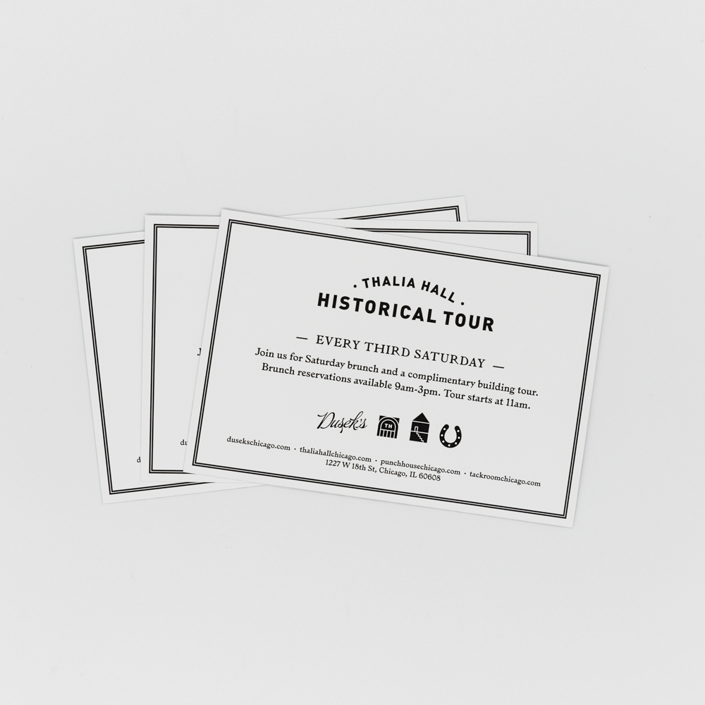 Image of check stuffers for Thalia Hall advertising a historical tour.